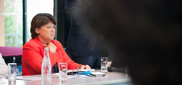 Martine Aubry, à Lille en 2012, lors d'une conférence de presse. Crédit Photo Stéphane Dubromel.