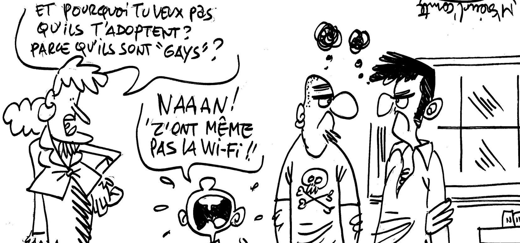 Les dessins de M'sieur L'Comte : adoption par les couples gays ou connexion wifi ?