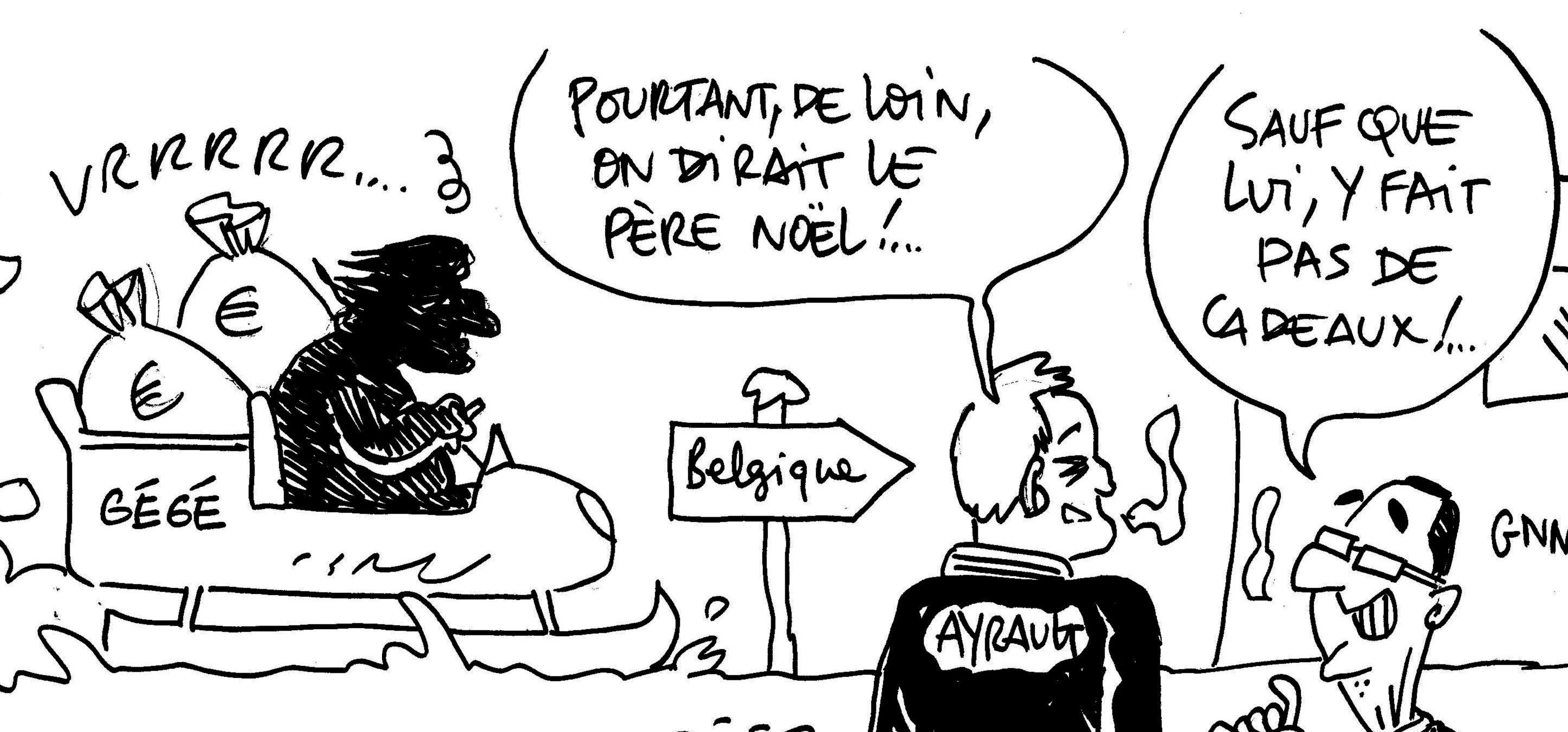 Les dessins de M'sieur L'Comte : Gégé (Depardieu), le Père Noël belge