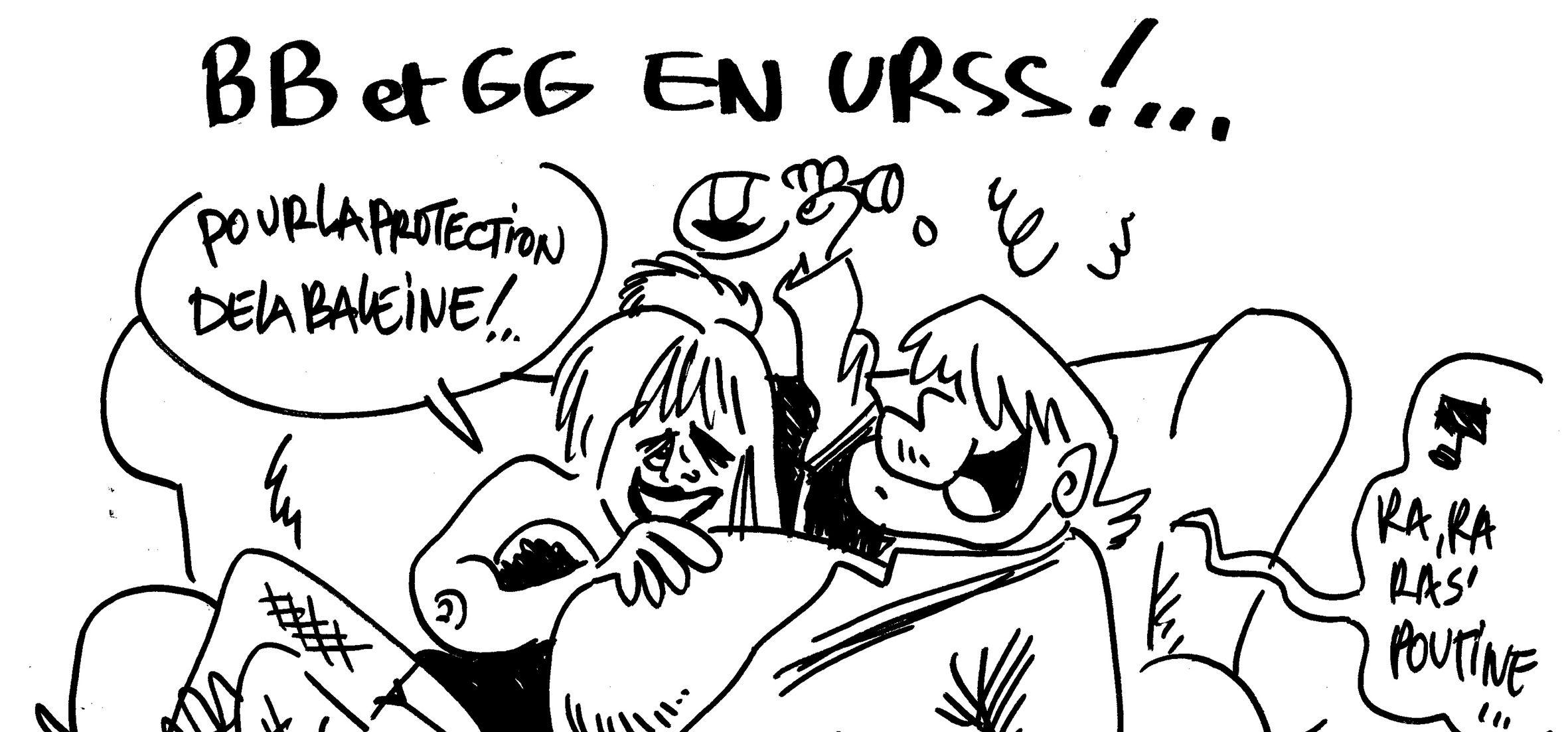 Les dessins de M'sieur l'Comte : Gérard Depardieu et Brigitte Bardot en Russie