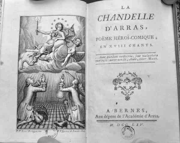 Ecrit par un abbé, la chandelle d'Arras, livre héroi-comique, comporte quelques scènes suggestives. Crédit photo Marie-Laure Fréchet.