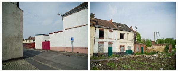 Dès l'entrée de la rue Basly, on trouve la première parcelle quasi-remblayée en intégralité. Ne reste qu'un bâtiment encore debout. Photos : Stéphane Dubromel.