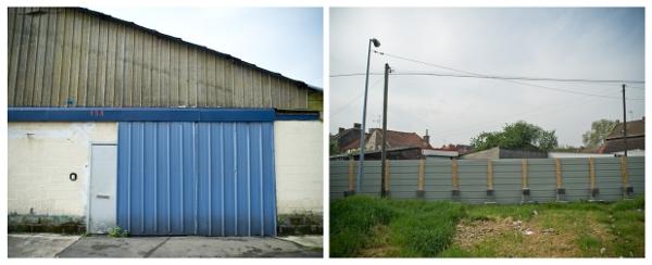 La rue Basly se compose d'une succession de garages fermés, et de palissades de chantier. Photos : Stéphane Dubromel.