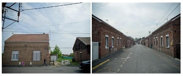 Rue Lebret, le côté le plus large de l'îlot. La majorité des habitations sont classées grâce à la présence du terril du Renard. Pourtant, certaines vont être détruites pour créer une route menant au nouveau quartier (photo de gauche).  Photos : Stéphane Dubromel.