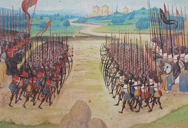 La bataille d'Azincourt a été l'une des plus cuisantes défaites de la chevalerie française au cours de la guerre de Cent ans. Crédit Miniature du XVe siècle tirée de Wikipédia.