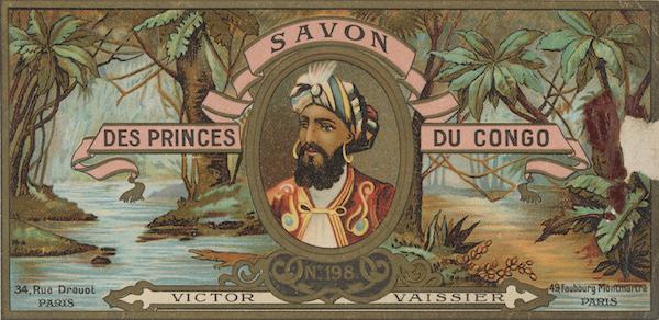 Savonnerie du Congo, étiquette de boîte de savon, conservée à La Piscine, musée d'art et d'industrie André Diligent de Roubaix. Crédit Photo : Alain Leprince