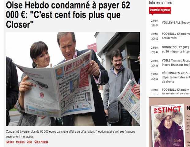 Une condamnation de Oise Hebdo qui met les finances du journal à mal. Capture d'écran du site Courrier Picard.