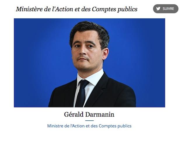Le nouveau titre de Gérald Darmanin, qui a donc choisi le bon cheval au lendemain de l'élection présidentielle. Capture d'écran Gouvernement.fr