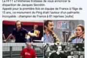 Disparition de Jacques Secrétin: les douze plus grands sportifs du Nord – Pas-de-Calais