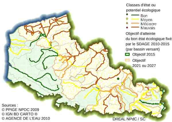 Les eaux de surface, principalement les cours d'eau, sont plutôt en mauvais état dans la région. Crédit DREAL Nord-Pas-de-Calais