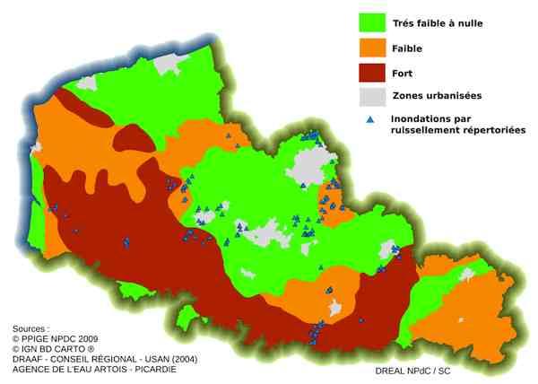 Le Nord-Pas-de-Calais possède des sols très sensibles aux ruissellements et à l'érosion. Crédit DREAL.