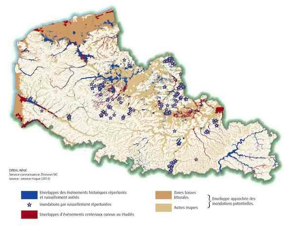Deux tiers de la région Nord-Pas-de-Calais ont fait l'objet d'une catastrophe naturelle ces 30 dernières années. Crédit DREAL