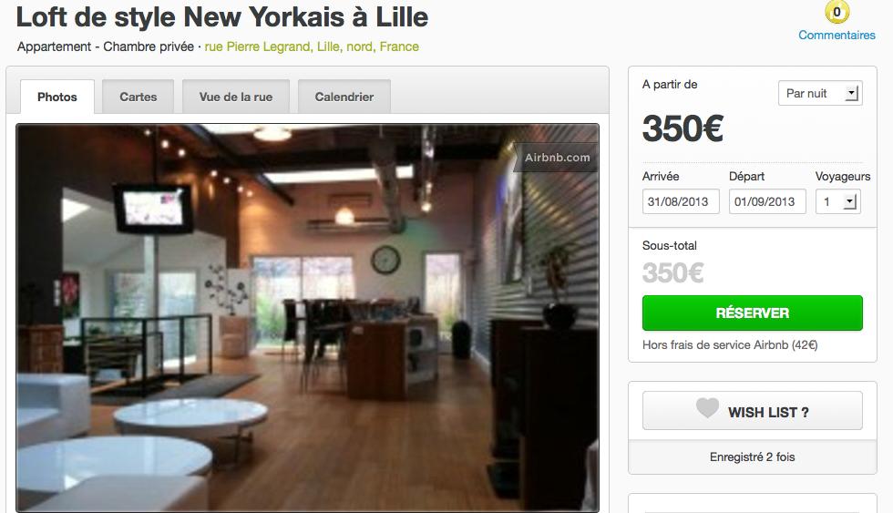 A l'occasion de la braderie de Lille, les propriétaires n'hésitent pas à sous-louer leur logement via internet. Photo capture d'écran du site airbnb.