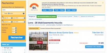 Si le prix des hôtels flambe, les chambres chez le particulier proposées sur Air b'n'b restent encore accessibles. Crédit capture d'écran du site booking.com